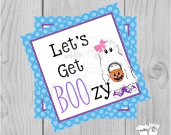 Halloween Printable Tags, Instant Download, Let's Get Boozy Tags, Square Gift Tags, Ghost, Printable, Halloween, Boo Bucket