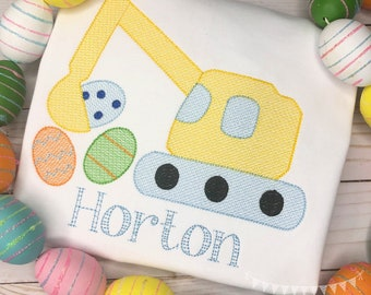 Personalized Boys Easter Egg Excavator Sketch Stitch Shirt, Embroidered, Boy Shirt, Easter Shirt, Easter Excavator with Eggs