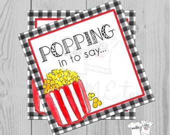 Popcorn Printable Tags, Instant Download, Friend Tags, Square Gift Tags, Classroom Tag, Popcorn Tag, Treats, Popping In, Popcorn, Snack Tag
