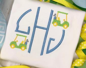 Personalized Monogram Golf Shirt, Golf Shirt, Golf Cart, Personalized Golf Shirt, Vintage stitch Golf, Monogrammed Golf, embroidered