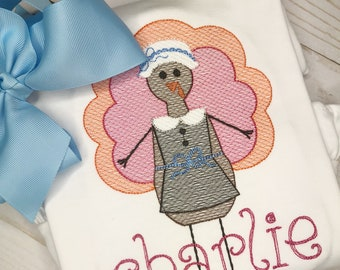 Vintage Girls Stitch Pumpkin Shirt, Bodysuit or Bib