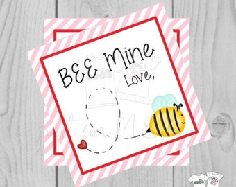 Valentine Printable Tags, Instant Download, Valentine's Day Tags, Square Gift Tags, Classroom Tag, Bee Mine Valentine,, Friendship Tag