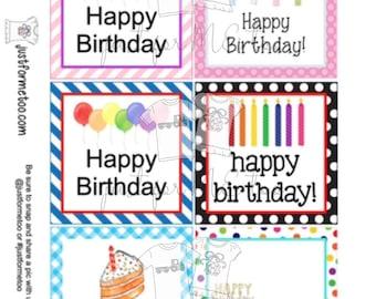 Happy Birthday Bundle Digital Tags, Printable Party Tags, Birthday Printable, Happiness Tags, Birthday Tags, Gift Tags, Party Tags
