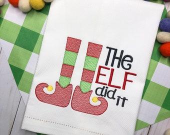 Christmas Elf Embroidered Hand Towel, Decorative Towel, Tea Towel, Cotton Hand Towel, Bar Cart, Hostess Gift, Housewarming Gift, Elf Feet
