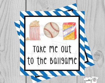Printable Tags, Instant Download, Baseball Tags, Softball Tags, Square Gift Tags, Classroom Tag, Concession Stand