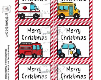 Christmas Printable Tags, Community Helpers, Merry Christmas Instant Download Tag
