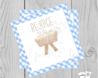 Christmas Printable Tags, Instant Download, Blue Manger Tags, Square Gift Tags, Rejoice, Baby Jesus, Christmas Tag, Instant Download