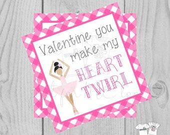 Valentine Digital Download Tag, Valentine Gift Tag, Ballet Tag, Ballerina Valentine Tag, Printable Tag