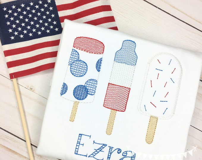 Featured listing image: Personalized Popsicle Embroidered shirt or bodysuit , embroidered, Popsicle, 4th of July Pop, Popsicle Trio