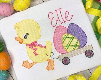 Personalized Girls Easter Sketch Stitch Shirt, Embroidered, Girl Easter Shirt, Easter Shirt, Duck pulling a wagon, Easter Duck, Easter Eggs