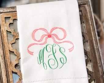 Monogram Hand Towel, Decorative Towel, Tea Towel, Cotton Towel, Hostess Gift, Housewarming Gift, Embroidery, Bar Cart, Bow Hand Towel