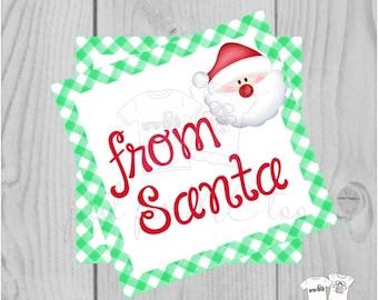 Santa Printable Tags, Instant Download, Christmas Tags, Square Gift Tags, From Santa, Santa Tag, Gift Tag, Christmas, Green Gingham
