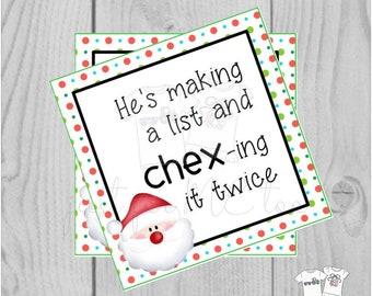 Christmas Printable Tags, Chex-ing it Twice, Merry Christmas Tag, Chex Mix Tag, Neighborhood gift tag