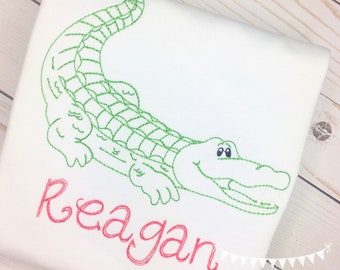 Personalized girls Alligator Applique Shirt or Bodysuit- Zoo Applique- Gator Applique- Vintage Alligator- for girls- monogram- embroidered