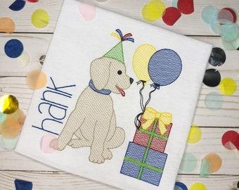 Personalized Birthday Dog Embroidered Sketch Shirt - Embroidered Dog with Balloons, Birthday Shirt, Birthday Dog