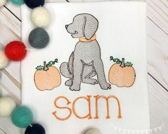 Personalized Fall Dog Stitch Shirt, Fall Shirt, Pumpkin Applique, Personalized Pumpkin Dog Shirt, Vintage stitch Dog, Boys Shirt