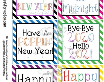 Happy New Year Printable Tag, Instant Download, Gift Tag, 2021 Gift Tag, Gifting, New Years Gift, New Year Party, Digital Download