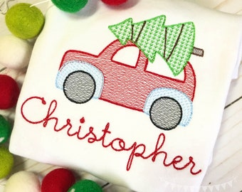 Personalized Christmas Car withTree, Vintage Stitch Car with Tree, Christmas Tree Embroidery Shirt or bodysuit, Vintage Christmas Embroidery