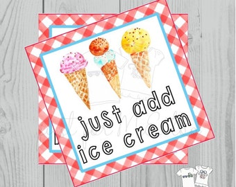 Instant Download Printable Ice Cream Tag, Instant Download, Printable, Square, Gift Tag