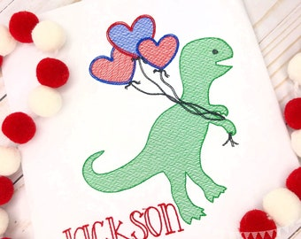 Personalized Valentine's Day Dinosaur shirt, Valentine Dino with balloons, Personalized Dinosaur, Boys Valentine Shirt, Dinosaur Shirt