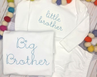 Personalized Sibling Script Set- Big Brother Shirt- Little Brother Gown Makes a great Gift- Vintage Stitch Sibling set- FREE MONOGRAM