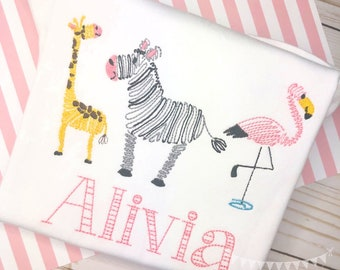 Personalized Zoo Vintage Stitch Shirt or Bodysuit- Vintage Stitch Zoo Shirt- Giraffe- Zebra- Flamingo- Personalized Zoo Party Shirt