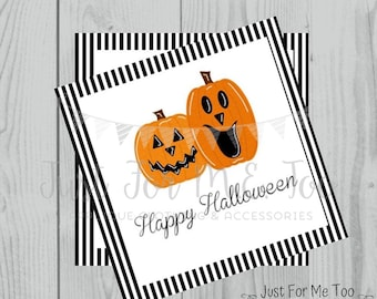 Halloween Printable Tags, Instant Download, Happy Halloween Tags, Square Gift Tags, Jack-O-Lantern, Lunchbox, Pumpkin, Printables, Halloween