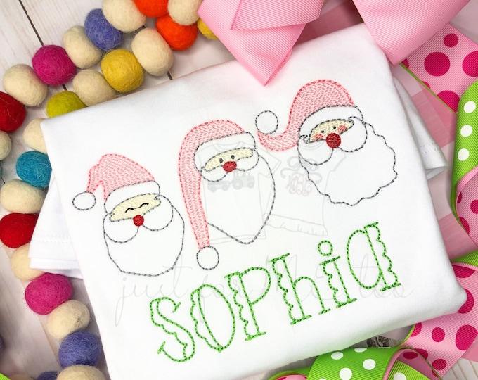 Featured listing image: Personalized Santa embroidery Shirt, Vintage Stitch Santa, Santa Claus Embroidery Shirt or bodysuit, Vintage Santa Embroidery