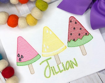 Personalized Popsicle Sketch Embroidery Shirt for girls -Summer Birthday, Fruit Popsicle Trio, Embroidered, Summer, Girls
