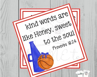 Basketball Printable Tags, Spirit Tags, Instant Download, School Tags, Cheerleading Tags, Cheerleader, Basketball. Proverbs 16:24