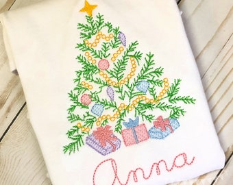 Personalized Christmas Tree Shirt, Vintage Stitch Tree with presents, Christmas Embroidery Shirt or bodysuit, Vintage Christmas Embroidery