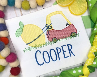 Personalized Lemon Coupe Car Sketch Stitch Shirt, Embroidered, Boy Shirt, Girl Shirt, Lemons, Farmer, Fruit Coupe, Free Shipping