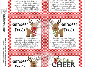 Reindeer Food Printable Tags, Instant Download, Christmas Tags, Square Gift Tags, Merry Christmas, Santa Tag, Gift Tag, Reindeer Tag