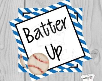 Printable Tags, Instant Download, Baseball Tags, Softball Tags, Square Gift Tags, Classroom Tag, Batter Up