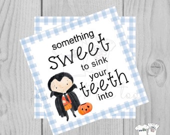 Halloween Printable Tags, Instant Download, Vampire Halloween Tags, Square Gift Tag, Gingham, Lunchbox, Printable, Sweet Treat