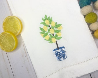 Lemon Tree Embroidered Hand Towel, Decorative Towel, Kitchen Towel, Cotton Hand Towel, Bar Cart, Care Package, Summer Hand Towel