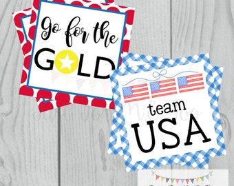 Printable Tags, Instant Download, Team USA Tags, Go For the Gold Tags, Digital Download