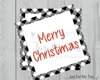 Merry Christmas Printable Tags, Instant Download, Christmas Tags, Square Gift Tags, Merry Christmas, Lunchbox, Printables