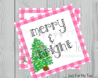 Merry & Bright Christmas Printable Tags, Instant Download, Christmas Tags, Square Gift Tags, Merry Christmas, Lunchbox, Printable