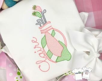 Personalized Golf Stitch Shirt, Golf Shirt, Golf Applique, Personalized Golf Shirt, Vintage stitch Golf, Golf Bag shirt, Free Ship, ruffle