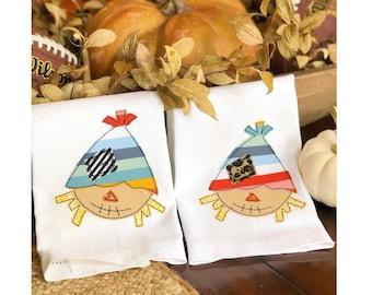 Scarecrow applique Hand Towel, Decorative Towel, Scarecrow Towel, Cotton Hand Towel, Fall Gift, Care Package, fingertip towel