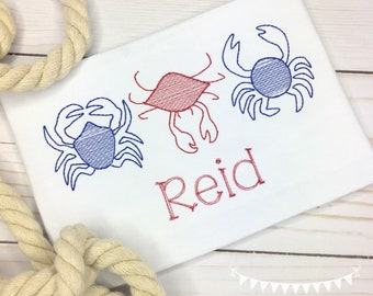 Personalized Boys Crab Shirt or bodysuit - Embroidered Crab Trio, Vintage stitch Crab, Crab Applique, Embroidery, monogram, for boys