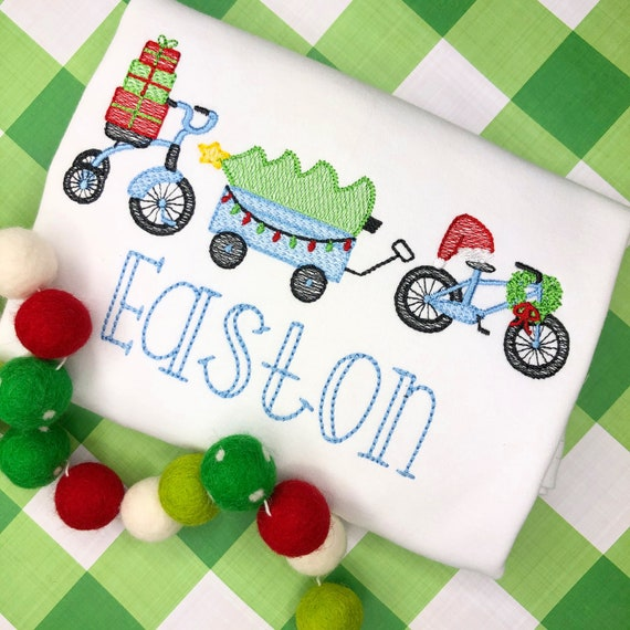 Personalized Christmas Shirt, Vintage Stitch Christmas Parade, Christmas Bike Embroidery, Vintage Christmas Wagon, Wagon, Bike, Tricycle