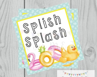 Splish Splash Printable Tags, Pool Float Tag, Instant Download, Summer Tags, Float Tags, Summer, Pool Party, Digital Download