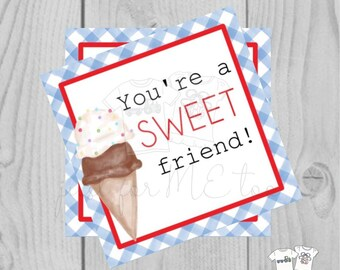 Valentine Printable Tags, Instant Download, Valentine's Day Tags, Square Gift Tags, Classroom Tag, Ice Cream Tag, Treats, You're Sweet