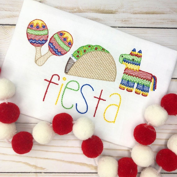 Personalized Fiesta Shirt, Birthday Applique,Fiesta, Taco Tuesday, Cinco de Mayo, Taco Applique, Fiesta Trio Embroidery, Mexican Trio