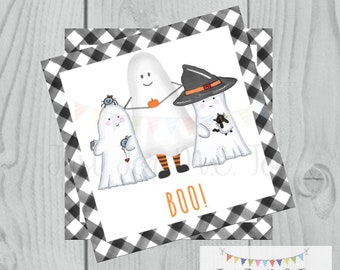 Halloween Printable Tags, Instant Download, Ghost Tags, Square Gift Tags, Happy Halloween, Lunchbox, BOO Tag, Printable, Cute not Creepy