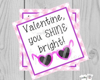 Valentine Digital Download Tag, Valentine Gift Tag, Princess Tag, Girl Valentine Tag, Printable Tag, Sunglasses, Shine Bright Valentine