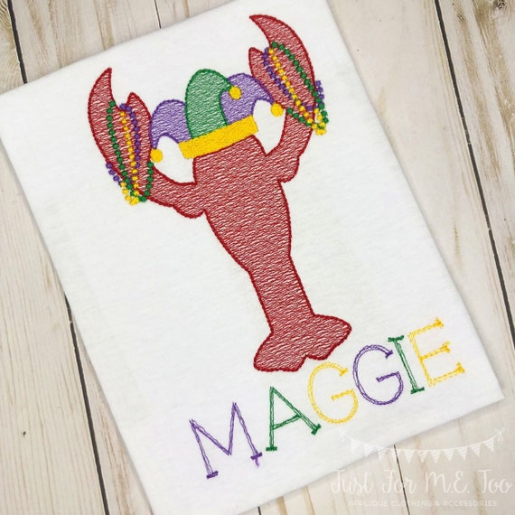 Personalized Mardi Gras Shirt, Mardi Gras Crawfish with Beads, Mardi Gras sketch shirt, New Orleans, Crawfish Jester with beads