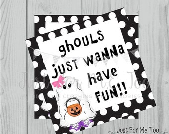 Halloween Printable Tags, Instant Download, Girl Ghost Tags, Square Gift Tags, Birthday, Lunchbox, Pumpkin, Printables, Girl